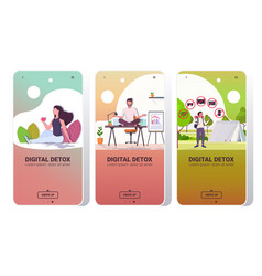 set people spending time without devices digital vector image