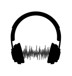 silhouette headphone with sound wave vector image