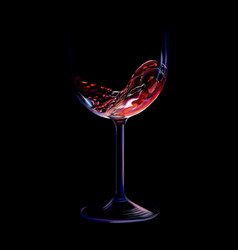 Splash of red wine in a glass vector