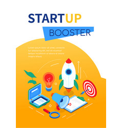 startup booster- modern colorful isometric web vector image