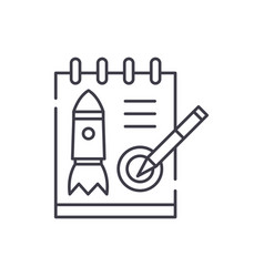 startup project line icon concept startup project vector image