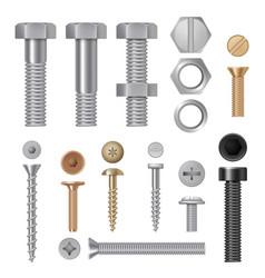 Steel screws bolts vise rivets metal construction vector