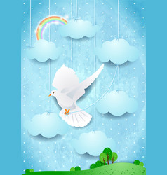 surreal landscape with dove and hanging clouds vector image