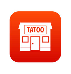 tattoo salon building icon digital red vector image