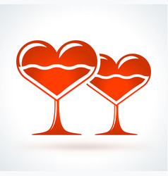 two heart shaped wineglasses st valentines day vector image