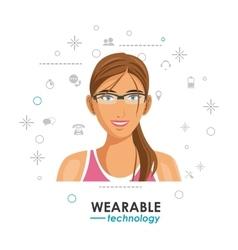 Wearable technology woman social media background vector