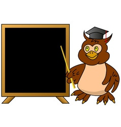 Wise owl teacher with blackboard vector