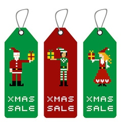 Xmas tag with pixel characters vector