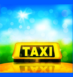 Yellow taxi sign on the car on a blue sky vector