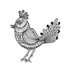 Zentangle stylized bird vector image