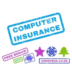 Computer Insurance Rubber Stamp vector image vector image