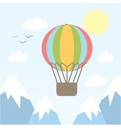 hot air balloon flying in the vector image