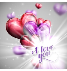 I love you retro label and balloon hearts vector image