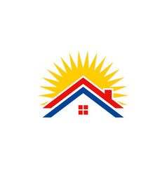roof house solar energy logo vector image vector image