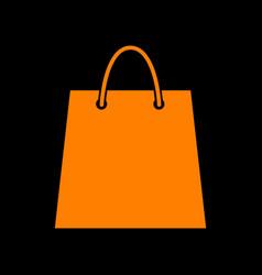 shopping bag orange icon on black vector image vector image