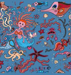 underwater mermaids seamless pattern vector image vector image