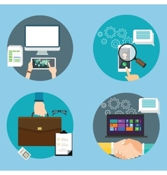 computer technology icon business set contract vector image vector image