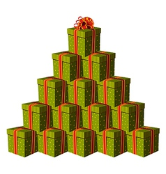 Gift boxes forming a Christmas tree vector image