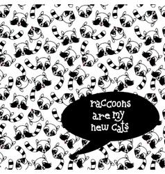 Raccoons seamless pattern Hand drawn vector image vector image