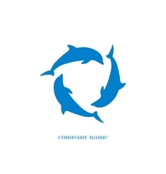 Blue Dolphins Silhouettes over white vector image