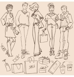 Fashion and Beauty hand drawn collection vector image vector image