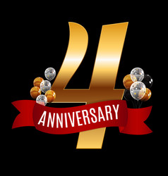 golden 4 years anniversary template with red vector image vector image