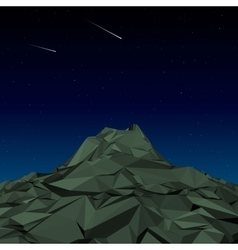 Green Mountain low polygon landscape night vector image vector image