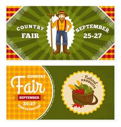Country fair vintage invitation cards vector