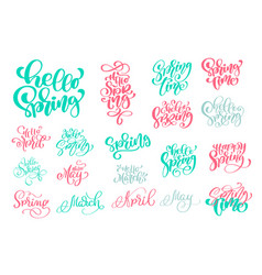 set hello spring of hand drawn quotes trendy hand vector image