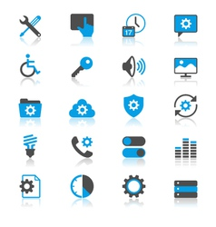Setting flat with reflection icons vector image