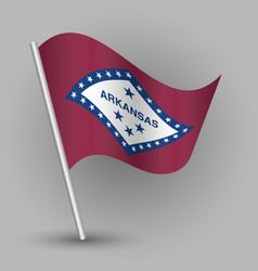 waving triangle american state flag arkansas vector image vector image