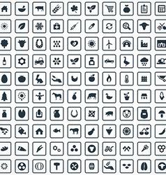 100 agriculture farm icons set vector