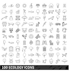 100 ecology icons set outline style vector image