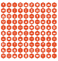 100 villa icons hexagon orange vector