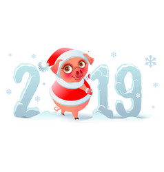 2019 year of pig on chinese calendar santa claus vector