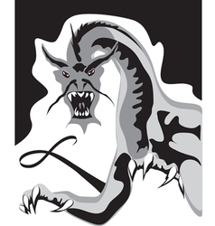 aggressive black dragon vector image
