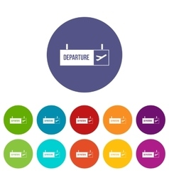 Airport departure sign set icons vector