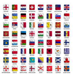all european country flags icons square shape vector image