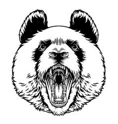 Angry roaring panda head mascot character emblem vector