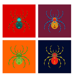 Assembly flat halloween spider vector