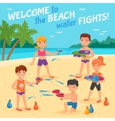 Beach water fights vector