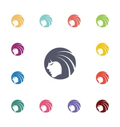 beauty face flat icons set vector image