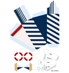Box template Gift package Nautical style vector image
