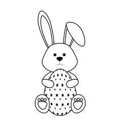 bunny animal egg easter vector image