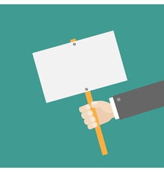 Businessman hand holding empty paper blank sign vector image