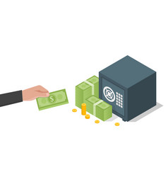 businessman hand holds a stack green dollars vector image