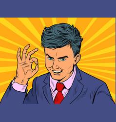 Businessman ok gesture vector