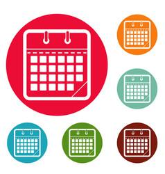 Calendar office icons circle set vector