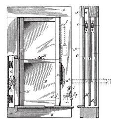 Casement window outward like a door vintage vector