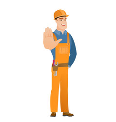 caucasian builder showing palm hand vector image